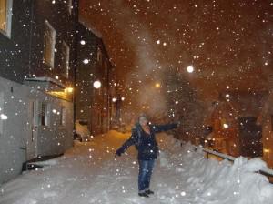 Chegada em meio à neve.