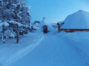 Cabana onde é servido o almoço no Tromsø Villmarkssenter.